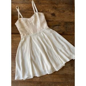 Express Shimmer Metallic Off-White Baby Doll Dress